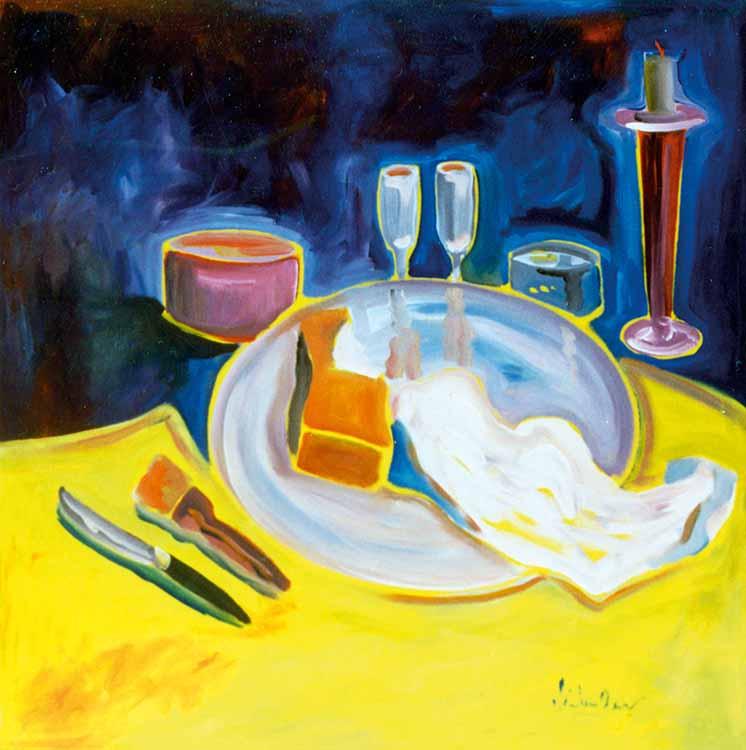 Gelbes Tischtuch
