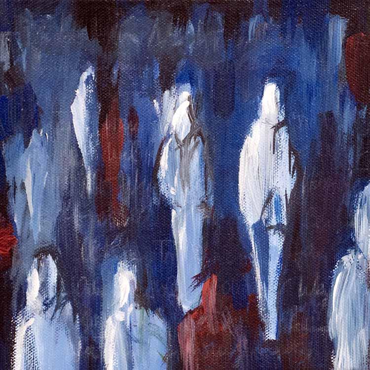 Menschen vor Blau